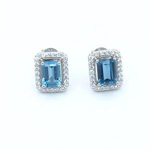 Jewelry - 🛍925 SS Topaz Cubic Zirconia Stud Earrings🛍